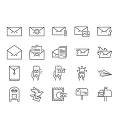 Mail line icon set vector