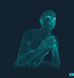 Man in a thinker pose 3d human body model vector