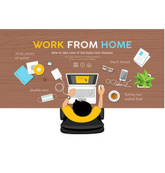 Man work from home desk top view design on wood vector