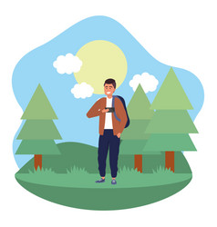millennial student outdoors using smartphone vector image