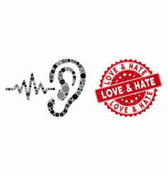 Mosaic hearing signal with textured love hate vector
