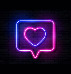 Neon gradient glowing heart in spech bubble banner vector