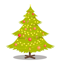 new year tree decorated by lighting garlands bells vector image