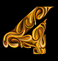 number 4 made from liquid gold vector image
