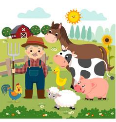 Old farmer and farm animals vector