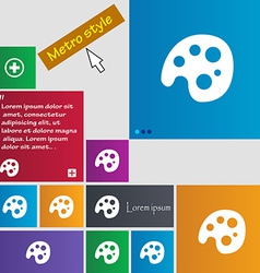 Palette icon sign Metro style buttons Modern vector image