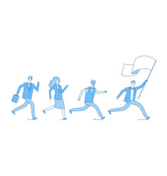 people running with flag business persons vector image