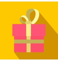 Pink gift box with a colden ribbon flat icon vector image