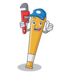 plumber baseball bat character cartoon vector image