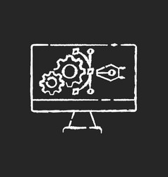 Prototype chalk white icon on black background vector