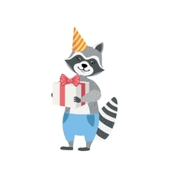 Raccoon Cute Animal Character Attending Birthday vector image vector image