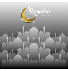 Ramadan kareem greeting card design with mosque vector