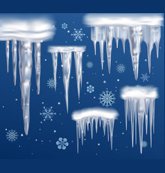 Realistic icicles blue background set vector