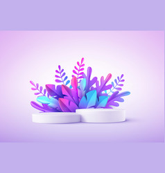 Realistic product podium with fantastic tropical vector