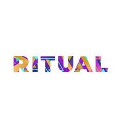 Ritual concept retro colorful word art vector