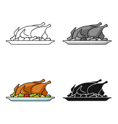 Roasted chicken with garnish icon in cartoon style vector
