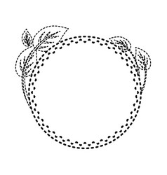 Round frame with leaves sticker vect vector