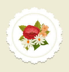 scandinavic style floral label with vector image