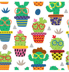 Seamless pattern with funny cactus in glasses vector