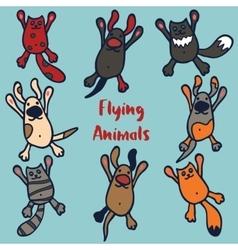 Set 8 funny flying animals vector