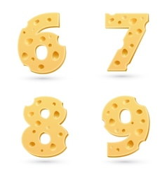 Set of cheese numbers vector image