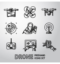 Set of freehand drone icons vector