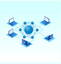 set of laptops in isometric vector image
