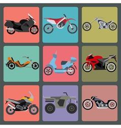 Set of nine icons of motorbikes vector