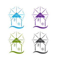 Set windmill with wave design template vector
