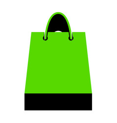 shopping bag green 3d icon vector image
