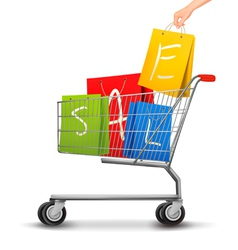 Shopping cart full shopping bags with a sale vector