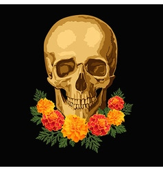 Skull with marigolds vector