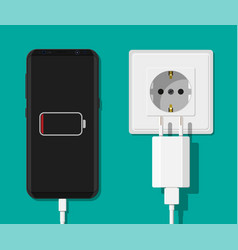 smartphone and charger adapter vector image