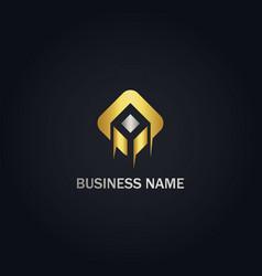 square shape business gold logo vector image