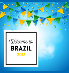 Square sky colored brazil olympics banner vector