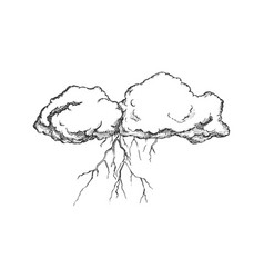 storm cloud with flash lightning monochrome vector image