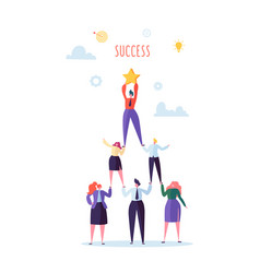 successful team work pyramid of business people vector image