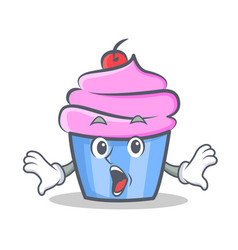 Surprised cupcake character cartoon style vector