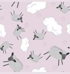 sweet dreams seamless pattern with cute sheeps vector image