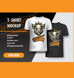 T-shirt template fully editable with wild boar vector