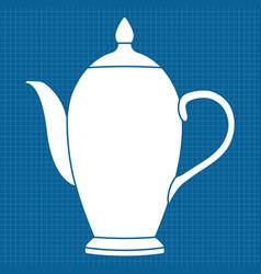 teapot white outline icon on blueprint background vector image