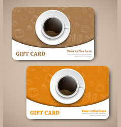 Template coffee gift cards with hand drawings vector