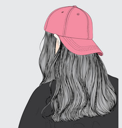 the girl wearing a pink hat vector image