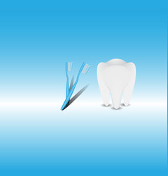 tooth with toothbrush and toothpaste on blue vector image
