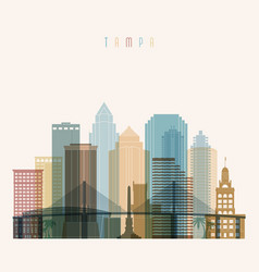 Transparent style tampa state florida skyline vector