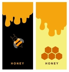 Two labels for honey products with bee and comb vector image vector image