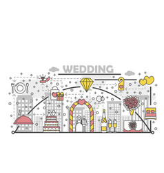 Wedding concept flat line art vector