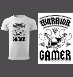 White t-shirt warrior gamer vector