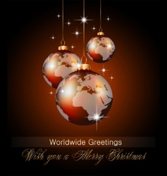 worlds Christmas baubles background vector image