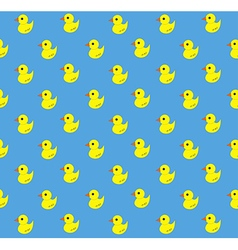 Yellow rubber duck pattern on blue background vector